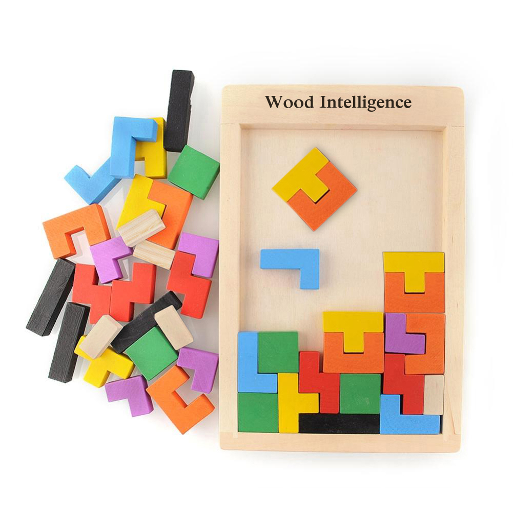 Baby Creative Educational Toy Wooden Tetris Blocks Tangram Building Montessori Wooden Block Intelligence Development Toys