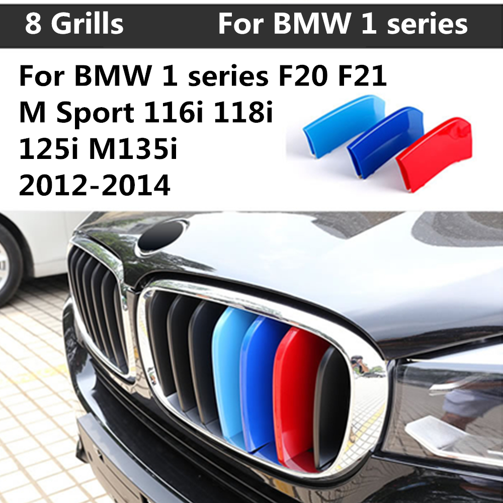 For BMW 1 series F20 F21 M Sport 116i 118i 125i M135i (8 Grills)  2012-2014 3D Front Grille Trim Strips grill Cover Stickers