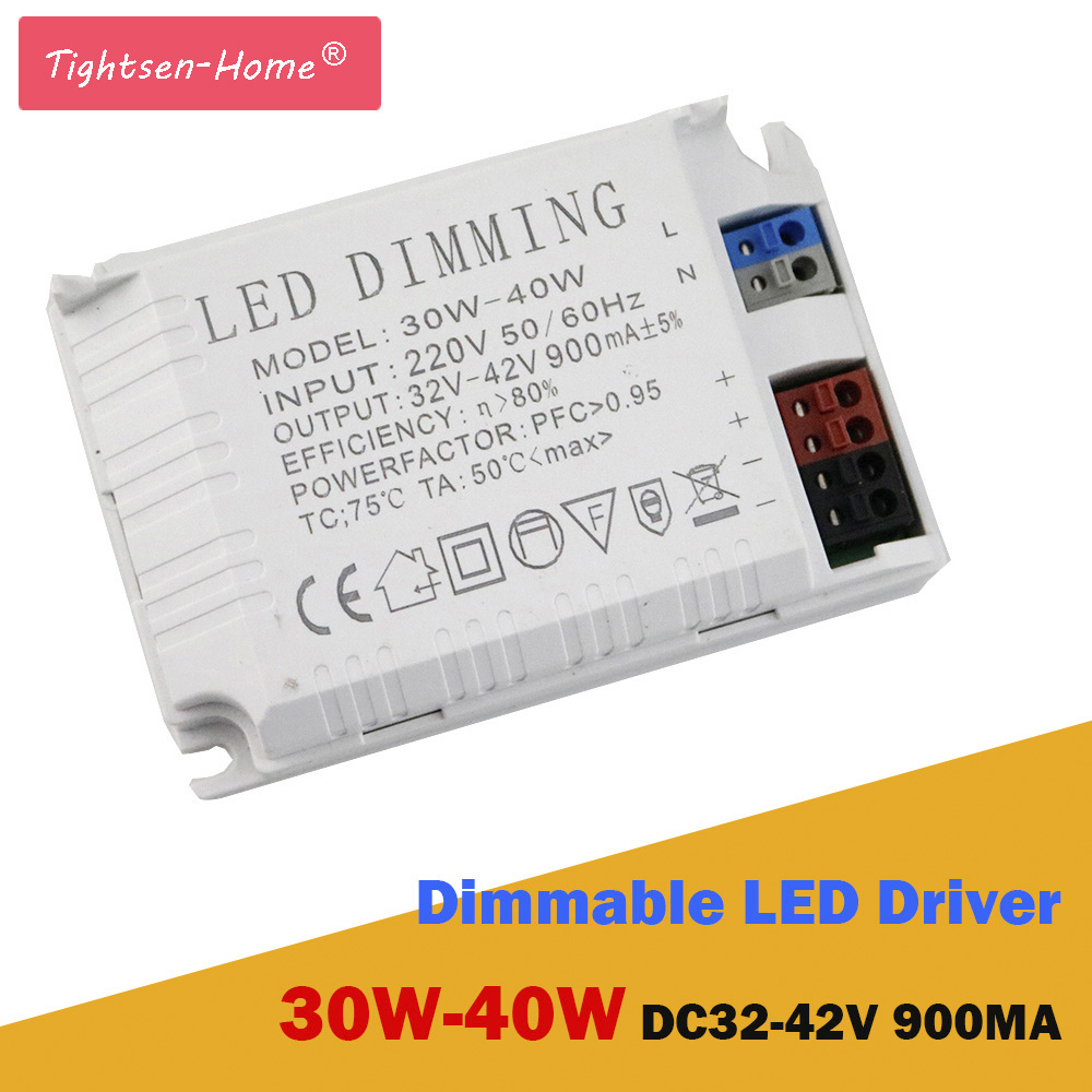 30W-40W Dimmable Led Driver Isolated 900mA 30W 32W 35W 40W Power Supply AC 220V DC32V - 42V for LED Dimming Ceiling lights Bulb