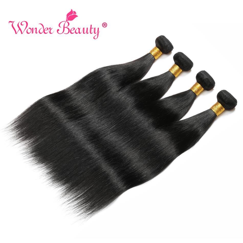 Pacotes de cabelo reto brasileiro maravilha beleza cabelo brasileiro tecer pacotes 1/3/4 pçs preto não remy extensão do cabelo humano