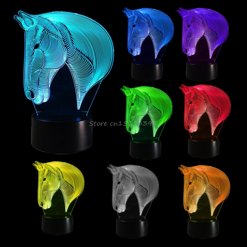 Horse Bedroom 3D Illusion LED Night Light Changing Color Touch Table Lamp Desk G08 Drop ship цена