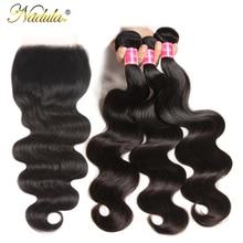 Игрока NADULA волос 5X5 прозрачного кружева закрытие/средней длины коричневого цвета тела пучки волнистых волос с закрытием волос Remy человеческие волосы с пучками