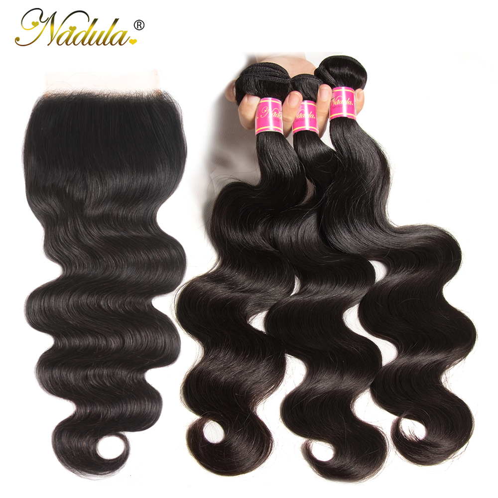 NADULA HAIR 5X5 Transparent Lace Closure/Medium Brown Body Wave Hair Bundles With Closure Remy Human Hair Closure With Bundles