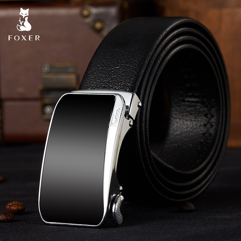 FOXER Men Leather   Belt   Cowhide 28-42 inch Adjustable Length Automatic Buckle High Quality Wholesale Business Male   Belts