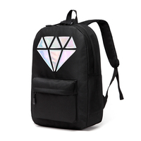 Holographic Silver Diamond Solid Colors Canvas Backpacks School Bags Teen Girls Unisex Female Men Laptop Travel