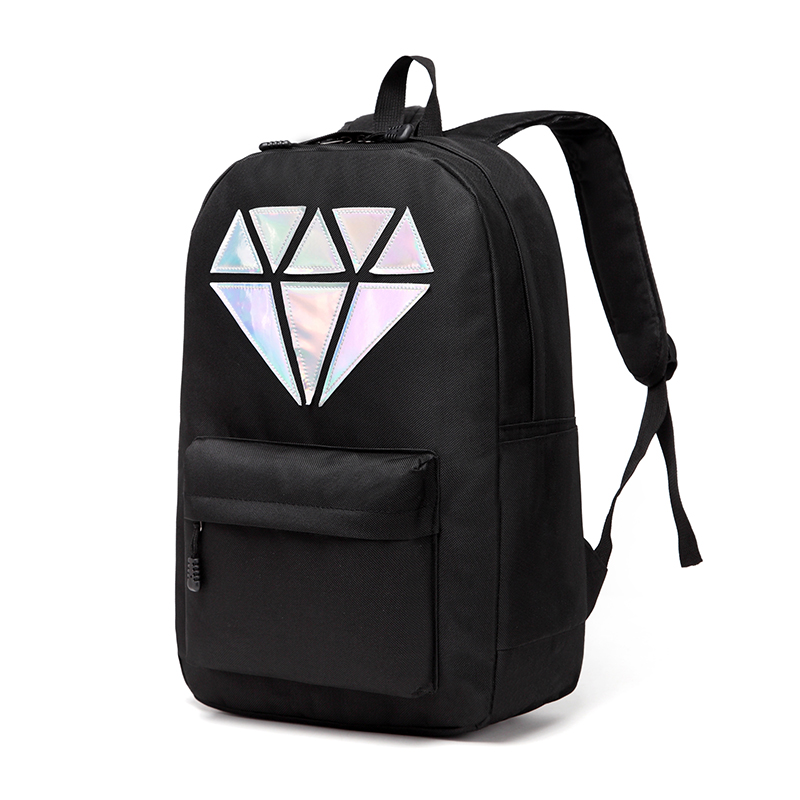 Women Canvas font b Backpack b font School Bags Holographic Silver Diamond Solid Teenage Girls Female