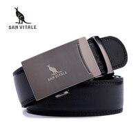 SAN VITALE Men Belts Genuine Leather Luxury Strap Male Belt For Man Buckle Fancy Vintage Jeans