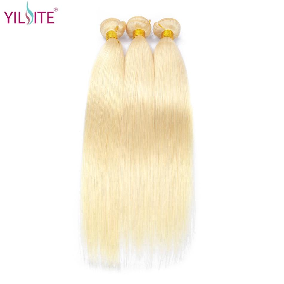 YILITE Indian Straight Hair Extension 613 Honey Blonde Bundles 1/3/4 Bundles Remy Hair Weaving 100% Human Hair Bundles 8-30 Inch