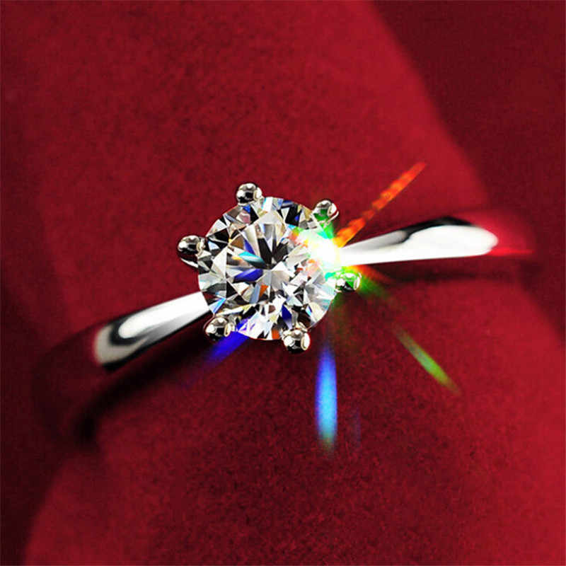 4ขนาด6กรงเล็บกุหลาบแชมเปญที่สง่างามขนาดใหญ่1.2ctทองเครื่องประดับจัดงานแต่งงานCubic Z Irconia Czแหวนแต่งงาน