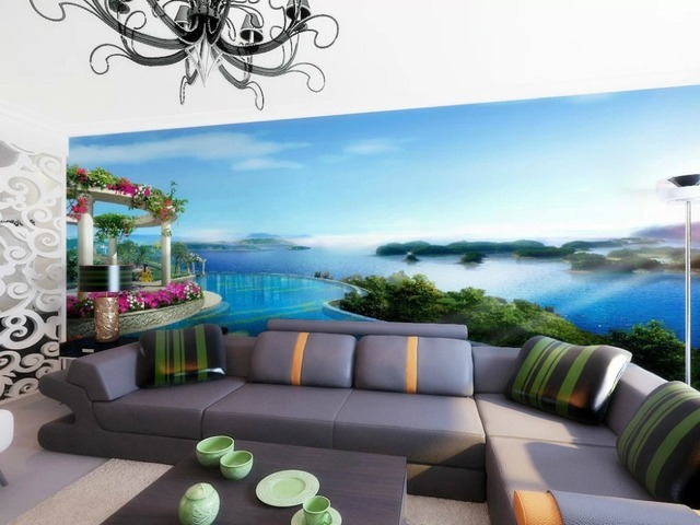 Best Quality Modern Style Papel De Parede Beautiful Scenery Lake Island Wallpaper Use