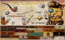 Rustic style retro nostalgic pipe TV bedroom living room background wallpaper mural