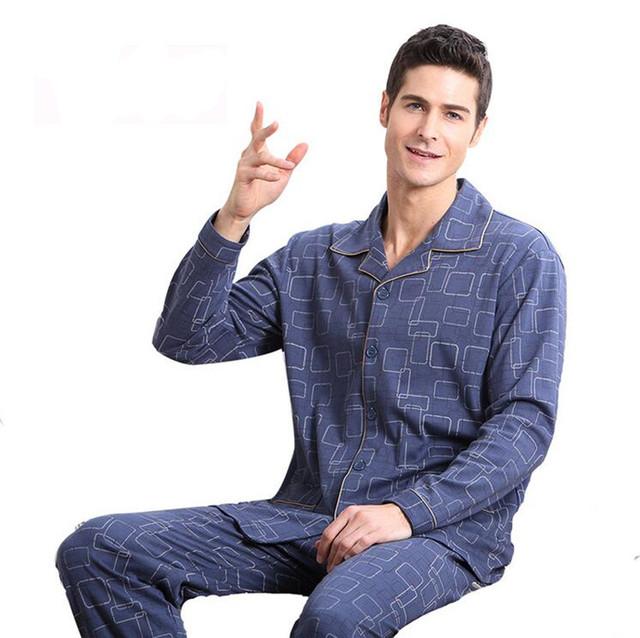 100% Pijamas de Algodón de Los Hombres de Algodón de manga Larga de Punto Del Sueño de Primavera Y Otoño Para Hombre Pijamas Salón más tamaño M-4XL de Los Hombres Conjunto de pijama