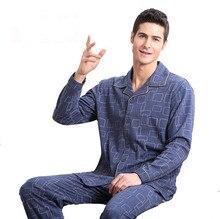 2017 Специальное предложение 100% хлопковые пижамы мужчины с длинными рукавами сна весна и осень мужские пижамы Lounge Plus Размеры M-4xl пижамы Комплект