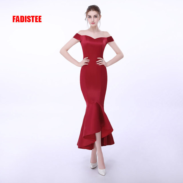 New arrival prom party dresses Vestido de Festa appliques boat neck dress elegant lace up style ruffles sexy mermaid dress -in Prom Dresses from ...