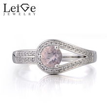 Leige Jewelry Genuine Natural Pink Quartz Ring Engagement Ring Round Cut Pink Gemstone 925 Sterling Silver Ring Gifts for Women