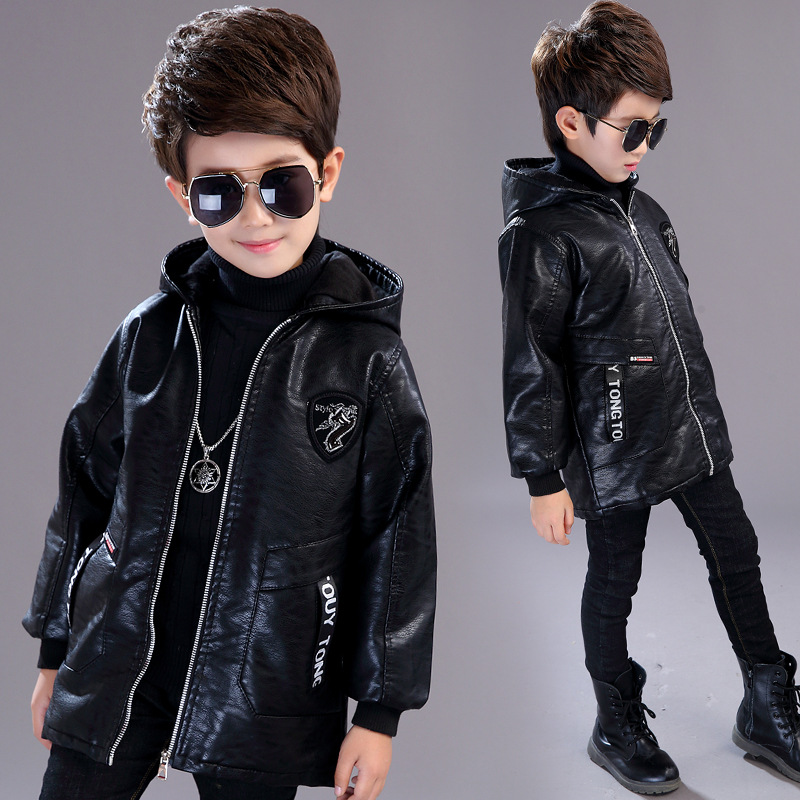 Boy Winter Leather Jacket Children's Coat 2018 New Plus Velvet Thick Hooded Warm Boys Faux Leather Jackets Fashion Outerwear 84665 leather jackets children spring baby boy jacket faux leather boy outerwear casual kids coat fashion boy coat fashion