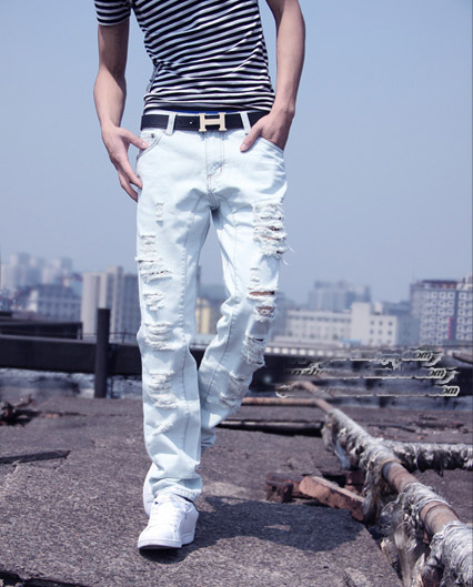 Large Size 42 Men Jeans Ripped Loose Hip-hop Cotton Jeans Men ripped Designer Brand White Jeans For 2015 New Arrival MB324 Z10 hot new large size jeans fashion loose jeans hip hop casual jeans wide leg jeans