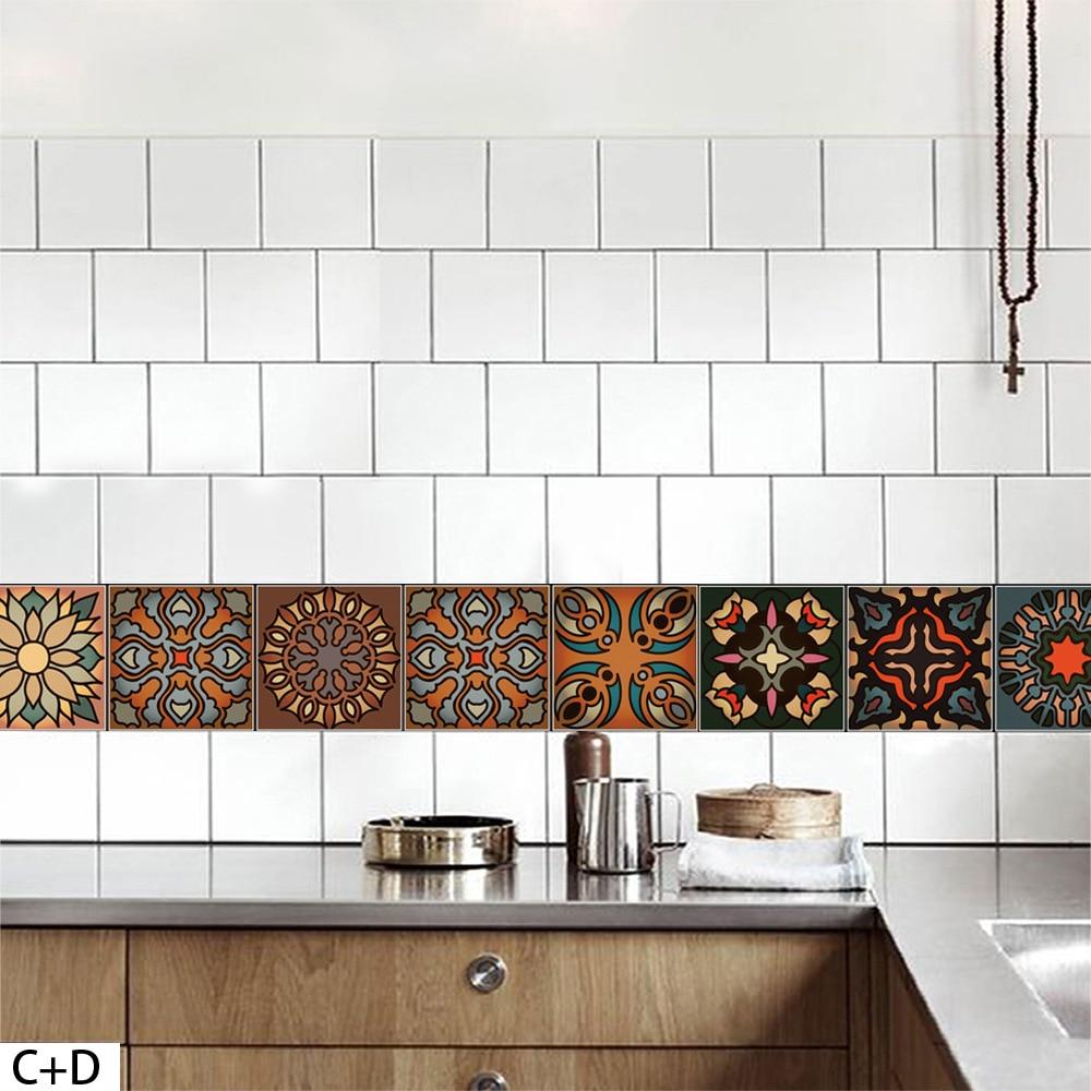 3D Morocco Style Retro Tile Floor Sticker Kitchen Bathroom Waist ...