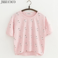JKKUCOCO 2017 Newest Style Offset Print Little Flowers Cotton T Shirt Women T Shirt Hot Tops