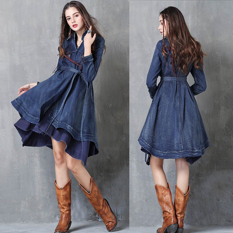 Free Shipping 2018 New Fashion Long   Trench   Dress For Women Vintage Denim Outerwear Long Sleeve S-L Embroidery Coats With Belt