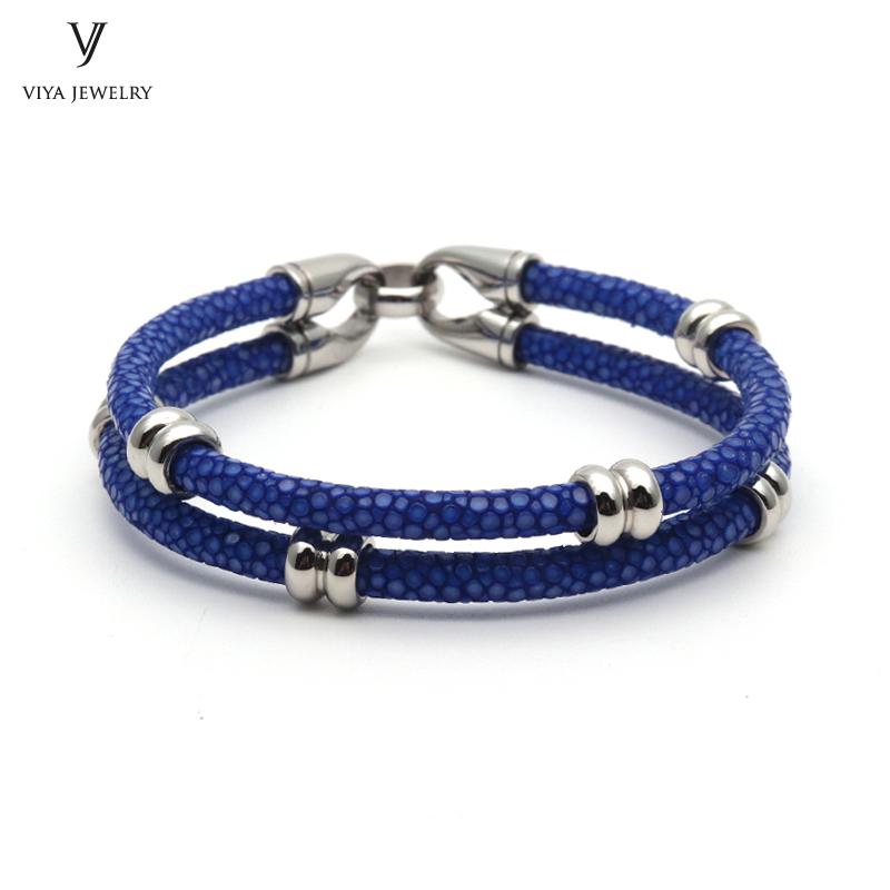 simple beads stingray leather bracelet for men ,couple stingray beads bracelets (5)