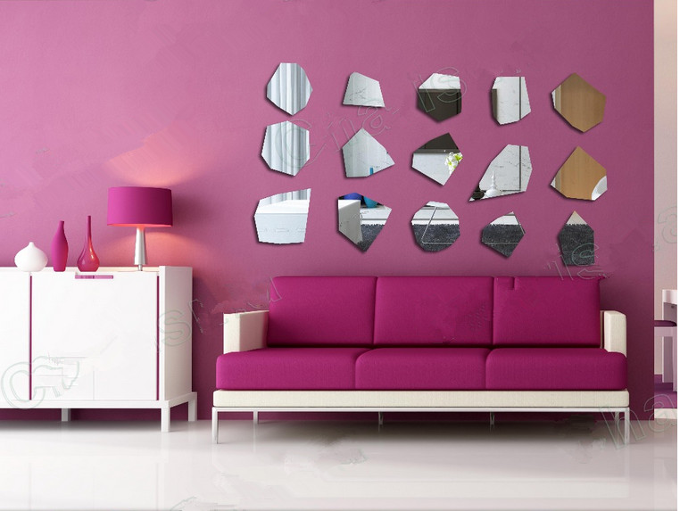 Irregular polygon acrylic mirror Wall Sticker TV back , hotel ...