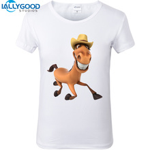 New Summer Funny 3D Cowboy Christmas Hat Horse T-Shirts Printed Short Sleeve White Tops Women Casual T shirt Tees S306