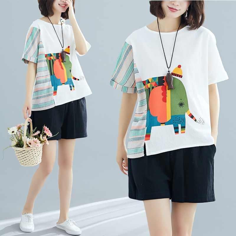 korean style cotton linen plus size vintage summer casual loose tee t shirt women t-shirt ladies tshirt 2019 tops streetwear