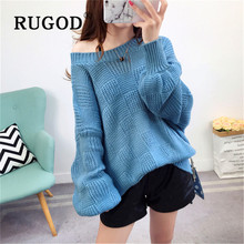 RUGOD Korean loose oversized women sweater Elegant round neck lantern sleeve pullovers ladies mujer invierno 2019 Solid coat