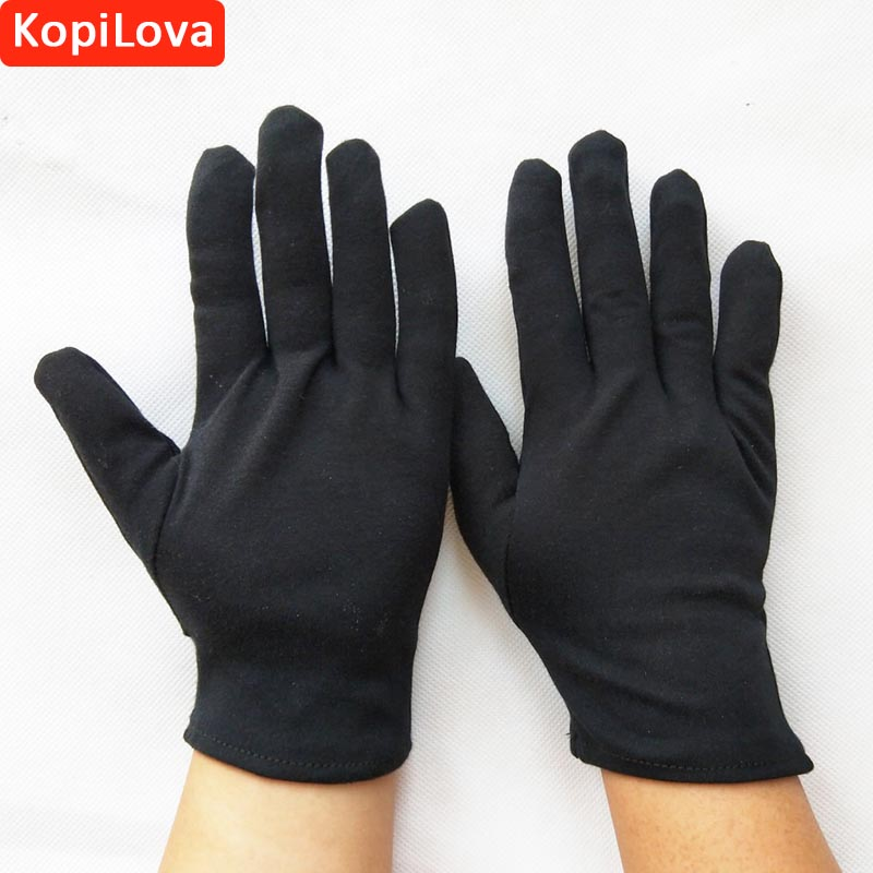 KopiLova 12 Pairs Thin Black Cotton Etiquette Reception Parade Performances Gloves Working Gloves Wholesale Safety Gloves