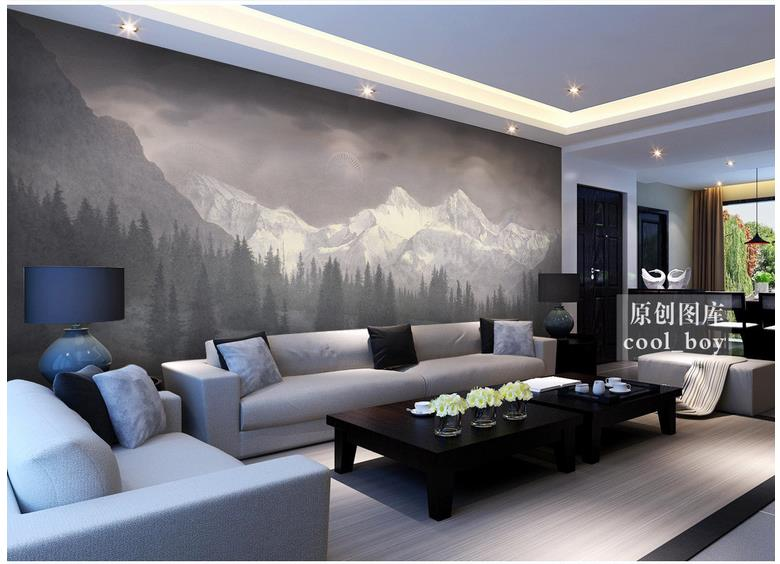 Customized 3d Photo Wallpaper For Walls 3 D Wall Murals Snow Mountain Giant Pine Forest Landscape Setting Wall Murals Home Decor