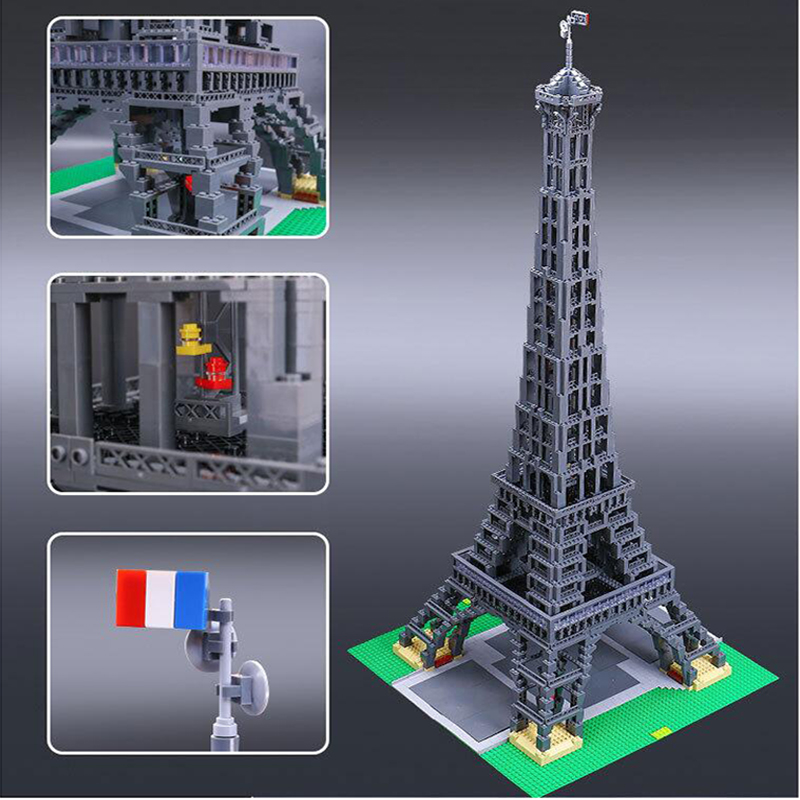 17002 Streetscape Building Series Eiffel Tower bricks modle Children's Assembled Building Block architecture toys for children mr froger loz taipei 101 tower diamond block world famous architecture series minifigures building blocks classic toys children