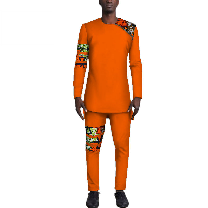 Casual-Mens-African-Clothing-Bazin-Riche-Patchwork-Top-Shirt-and-Pants-for-Men-Custom-100-Cotton(11)