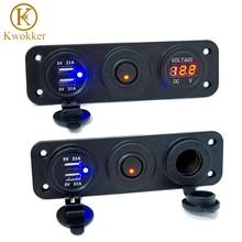 Voltímetro de 12/24V CC 5 V/2.1A cargador USB Dual encendedor de cigarrillos para RV coche barco vehículos camión GPS MP3 cargador de coche con interruptor