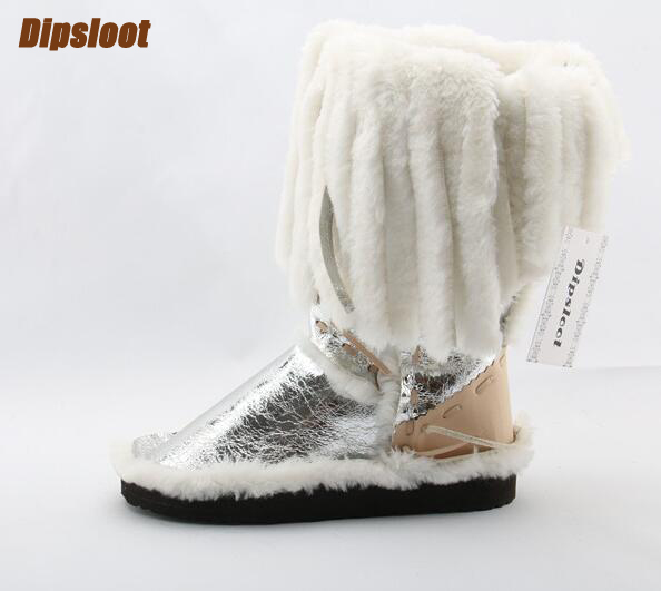Super Hot Fur Fringe Women Fashion Snow Boots Mixed Colors Ladies Slip On Mid-Calf Boots Round Toe Winter Warm Boot Eskimo Style ethnic style fringe and criss cross design mid calf boots for women