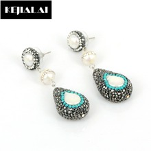 Fashion Women Jewelry Water Drop Earrings Full Rhinestone Accessories Freshwater Pearl Charm Luxury Earrings Crystal for Party