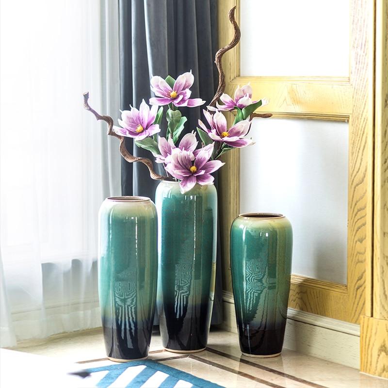 Europe Ceramic Blue Flowers Vase Home Decor Large Floor Vases Crafts Room Decoration Objects Parlor Porcelain Statue
