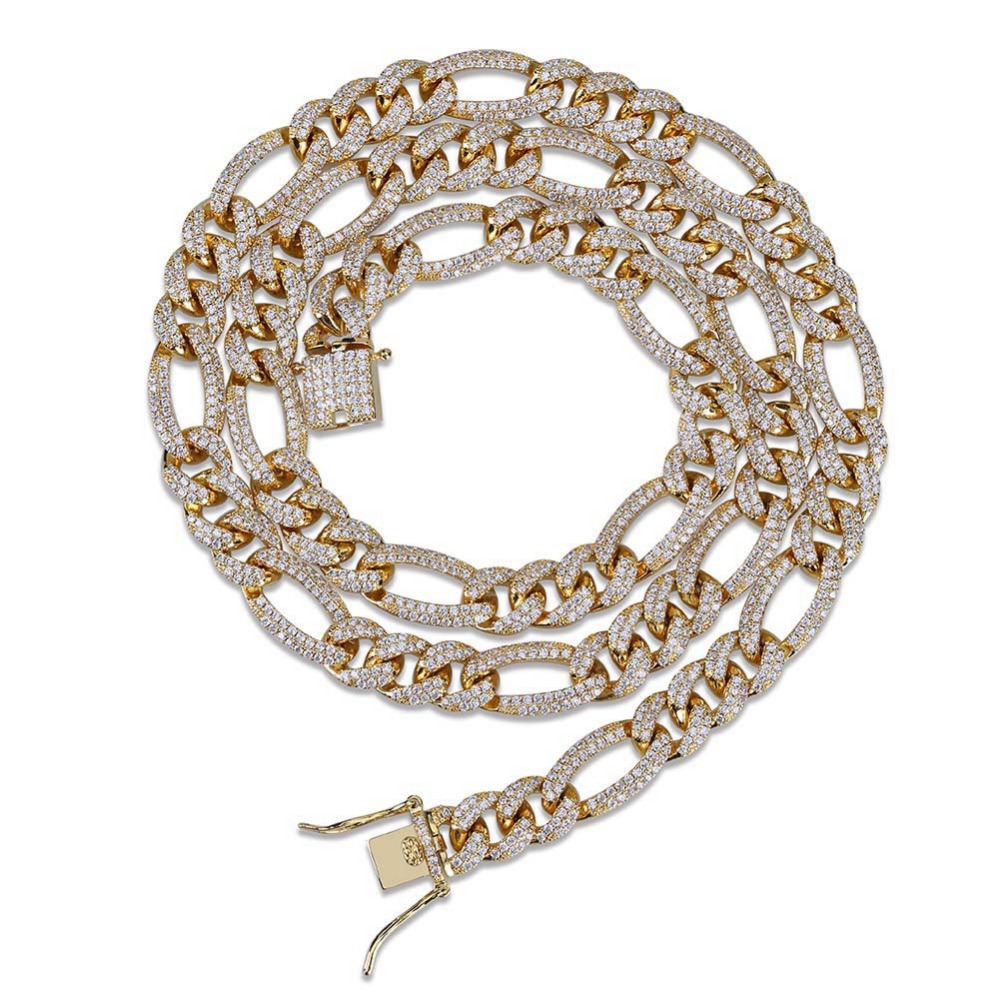 10mm NK Link Chain Necklace For Men Gold Silver Color Hip Hop Bling Iced Out Paved