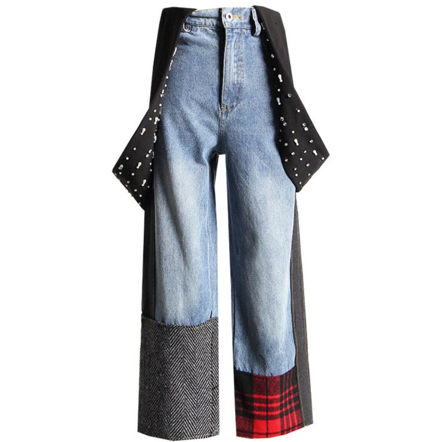 Hiver Taille Haute Jeans Femmes Perles Perle Denim Salopette Patchwork Plaid Lâche Laides Jeans à Jambes Larges