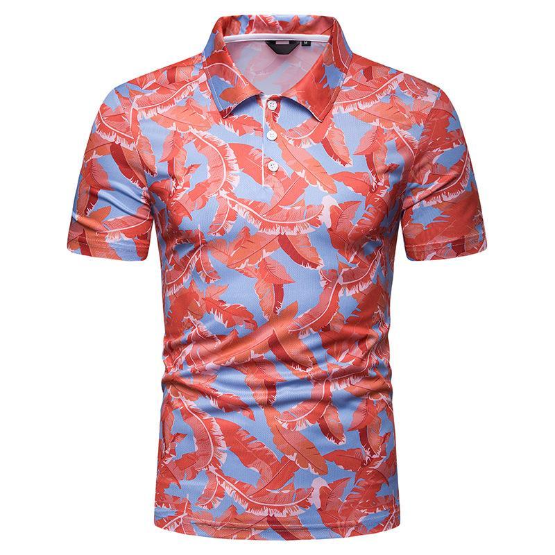 Tees Summer Blusas Short sleeves Floral print   Polo   Shirt Men New Hawaiian Men   Polo   Shirt Men's Clothing Tops