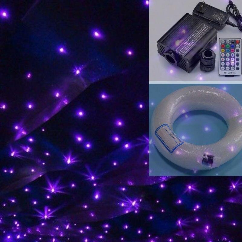 16W RGBW LED fiber optic light 0.75mm 100pcs*2m+100pcs*3m+250pcs*4m optical fiber cable end glow 28key remote control