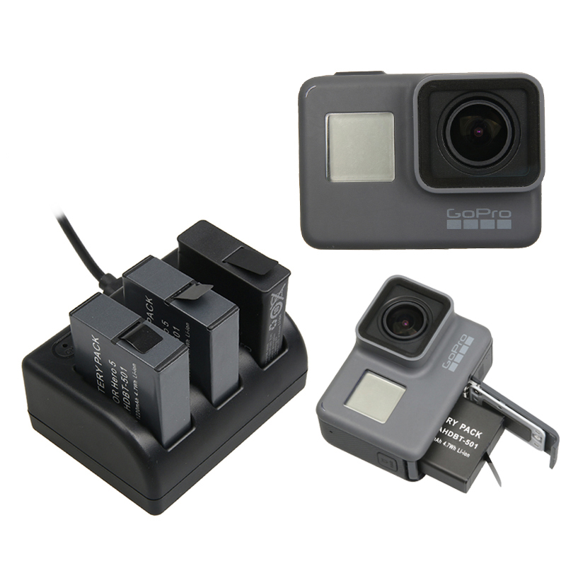 3 PCS 1220 mAh Batterie Rechargeable de Remplacement Bateria + Trois Chargeur Boîte pour Go Pro 6 5 GoPro Hero 5 Sport Caméra accessoires