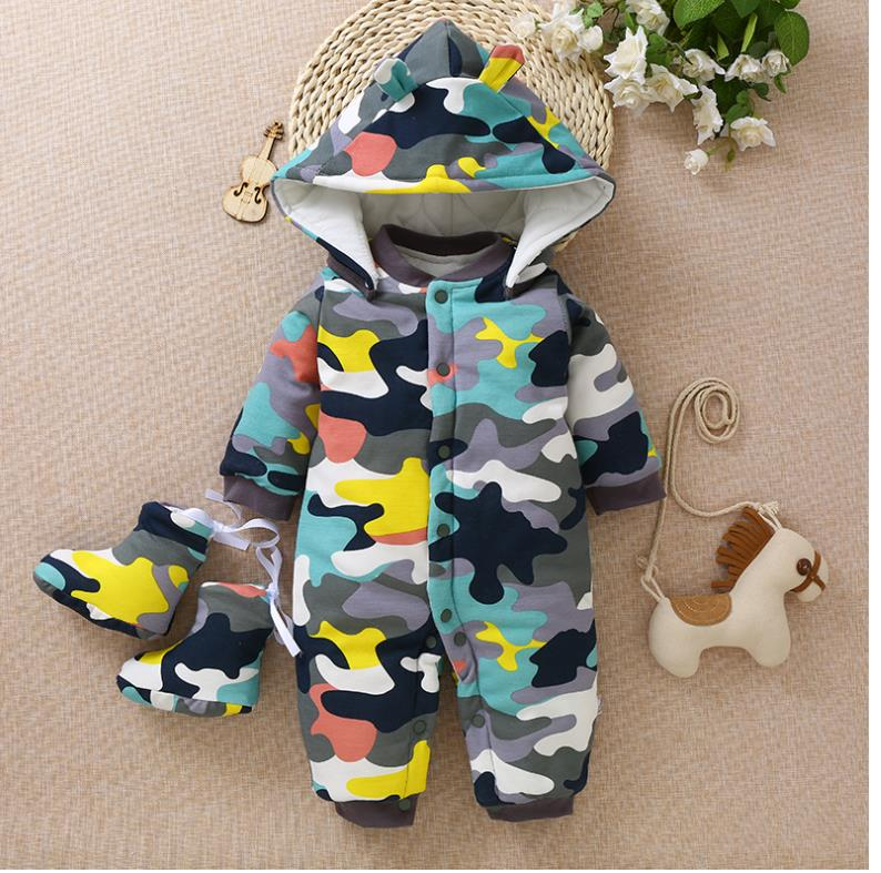 Little monkey's soft cartoon one-piece cotton-padded jacket title=