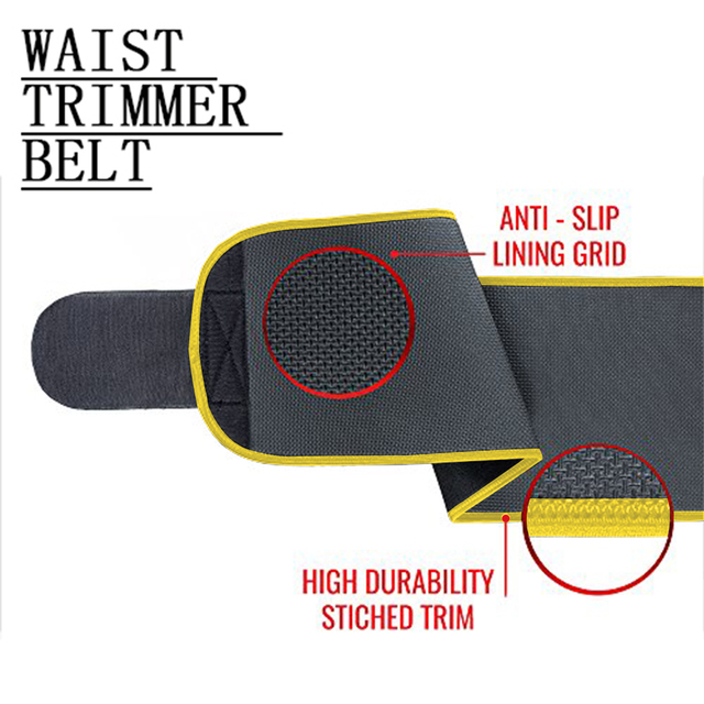New Grade Adjustable Waist Trimmer Sweat Belt Shaper Slimming Wraps Perfect for Exercise Belly Weight Loss 5mm Thickness 2