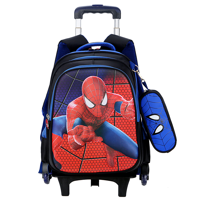 2018 Spiderman Climb stairs luggage child Pencil case cartoon school bag students Flash wheel suitcase Children travel backpack 2pcs set kids luggage child pencil case school bag students boy s girls climb stairs rolling suitcase children travel backpack