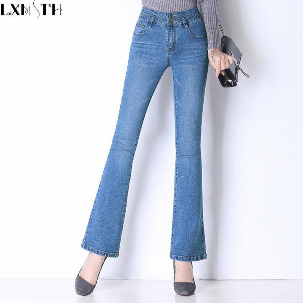 2018 Spring High Waist Women Flare Jean Zipper Casual Long Jeans Pants Slim Blue Denim Trousers