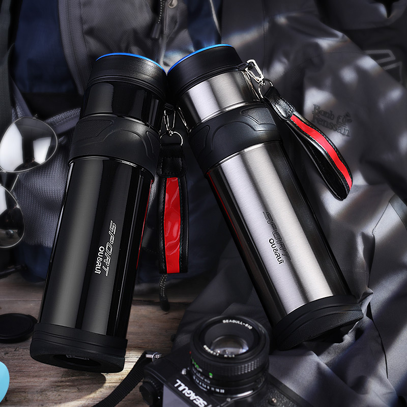 1000ml thermos outdoor sports portable camping hiking stainless steel vacuum large capacity mug creative gift cup termo