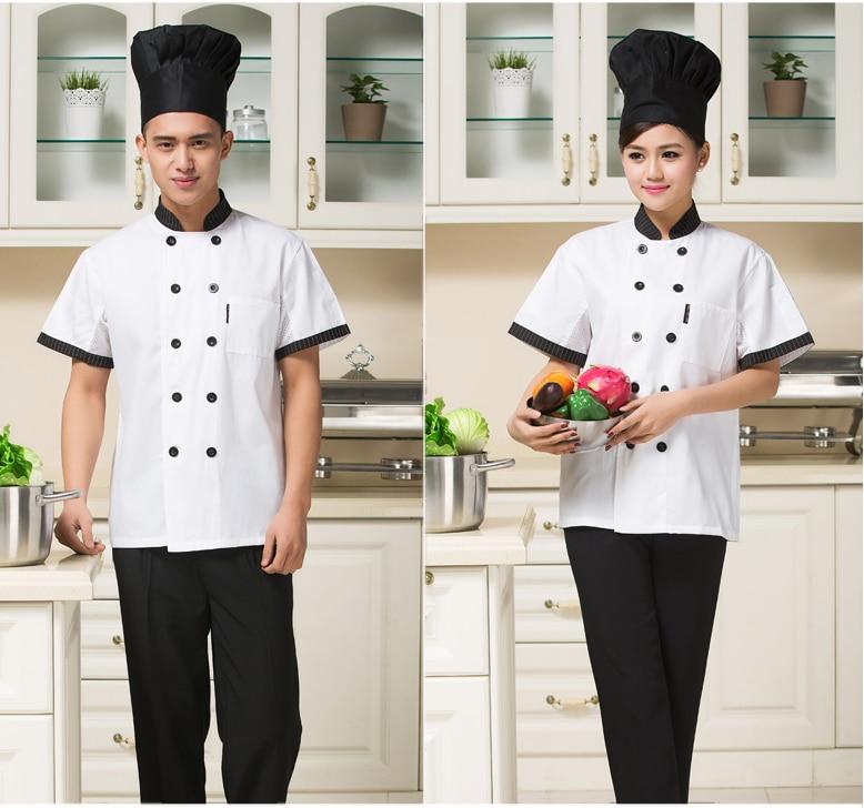 2017 Lengan Pendek Musim Panas Pakaian Chef Jaket Dapur Restoran Makanan Layanan Workwear Seragam Koki Clothing Di Dari Novelty Khusus