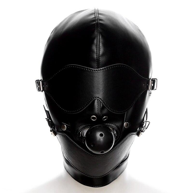 Голова Кожа жгут полиуретановая маска капюшон рот Даг БДСМ костюм фетиш бондаж регулируемый - Цвет: PG0192