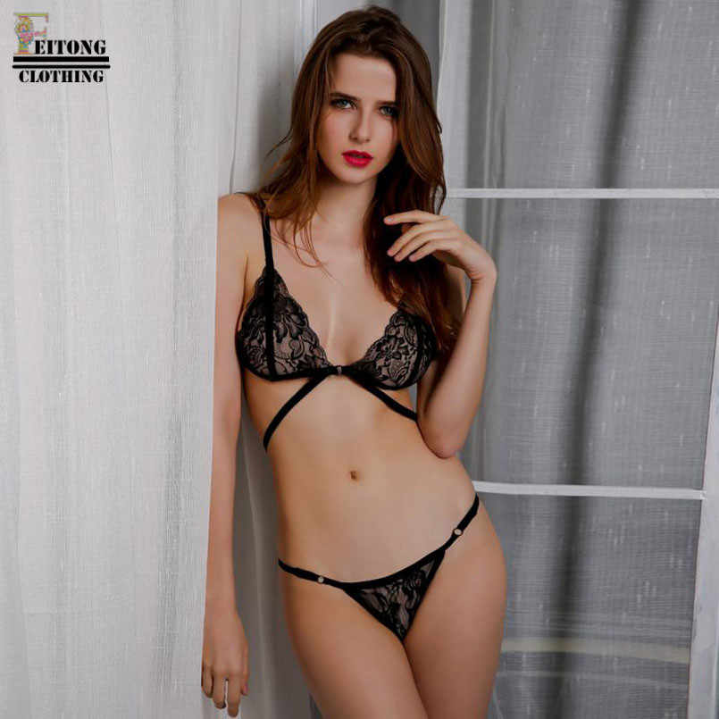 085a7246dc ... FEITONG Women Lingerie Corset Lace Bandage Wirefree Unlined Push Up Top  Bra Lce G-Sting ...